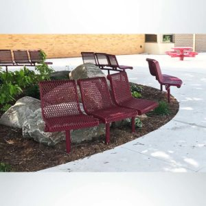 Model #PPS93845D2XAB. Grand Contour 45 degree 3 seat park benches with backrests. Burgundy, expanded metal, direct bury.