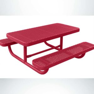 Model #PPS941101111C. Red, 4 Foot, Champion, Expanded Metal, Free Standing Children's Picnic Table.