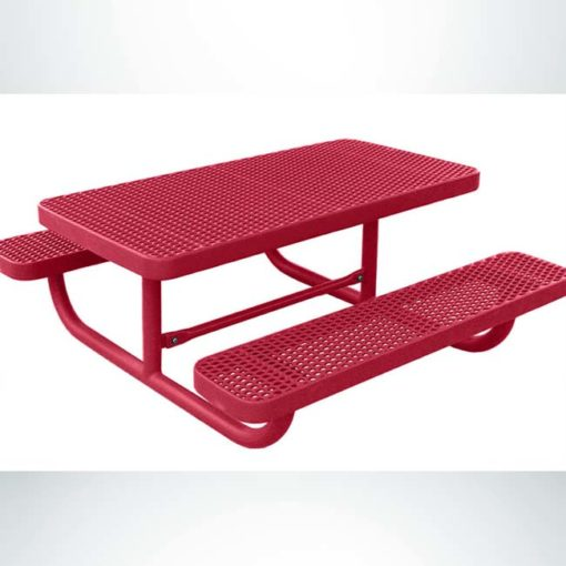Model #PPS941101111C. 4' Champion children's picnic table. Red, free standing, expanded metal.