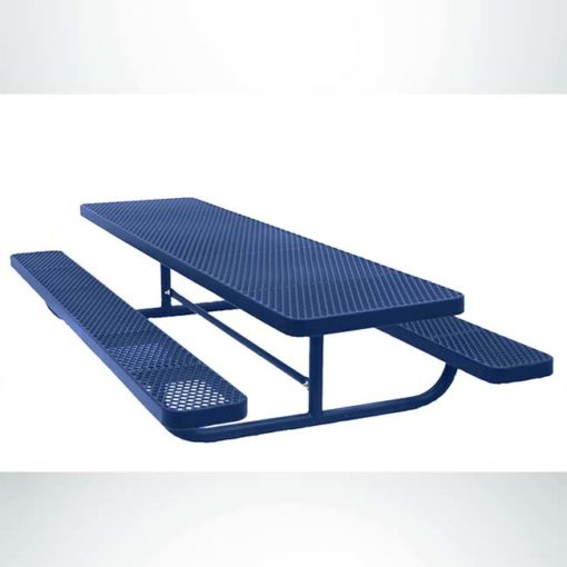 Model #PPS941501222C. Champion 8' children's picnic table. Blue, free standing, expanded metal.