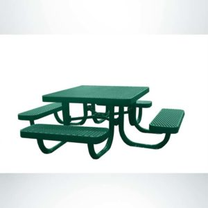 Model #PPS944091333C. 3' Square Children's Picnic Table. Hunter Green, Free Standing, Expanded Metal.