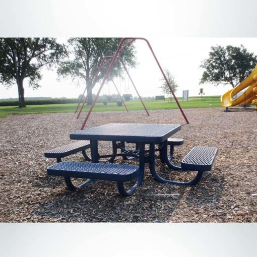 Model #PPS944091O22A. Champion square picnic table. 4 foot, blue, expanded metal, free standing.