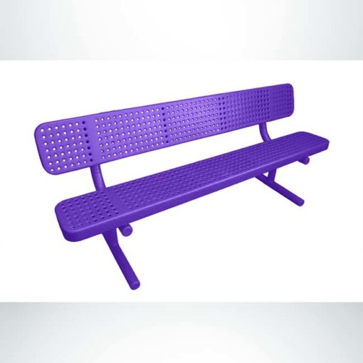 Model #PPS947301OPPD. Champion park bench with backrest. 8 foot, purple, perforated steel, free standing.