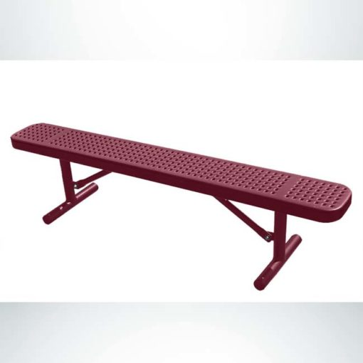 Model #PPS9438P1O00D. Champion park bench without backrest. 6 foot, burgundy, perforated steel, free standing.