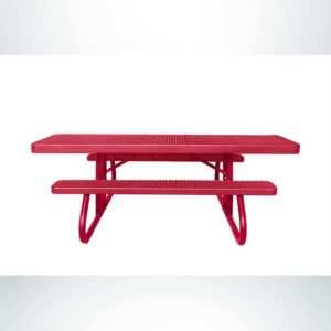Model #PPS950501O11C. Wheelchair Accessible Picnic Table. 8 Foot, Red, Expanded Metal, Free Standing.