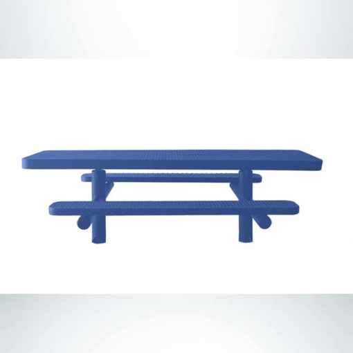 Model #PPS950502O22C. Wheelchair accessible table. 8 foot, blue, expanded metal, direct bury.