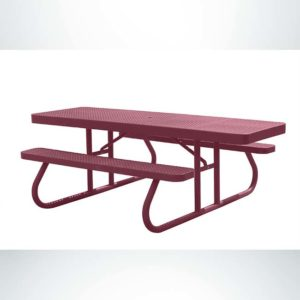 Model #PPS95051O00C. Champion Wheelchair Accessible Picnic Table. 8 Foot, Burgundy, Perforated, Free Standing.
