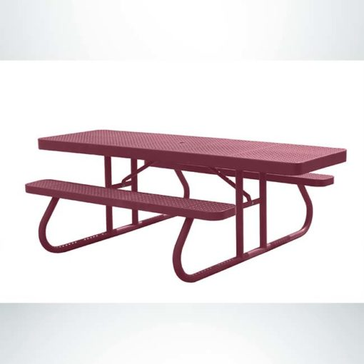 Model #PPS95051O00C. Champion wheelchair accessible picnic table. 8 foot, burgundy, perforated steel, free standing.