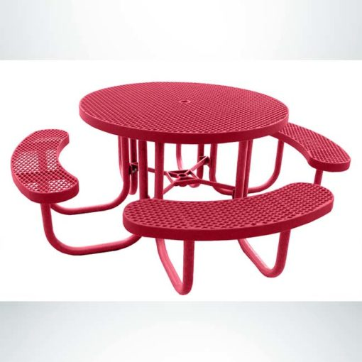 """Model #PPS955101O11C. Champion 3 seat round picnic table. Red, 48"""" diameter, expanded metal, free standing."""