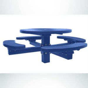 """Model #PPS955108O22C. Champion Four Seat Round Picnic Table. Blue, 48"""" Diameter, Expanded Metal, Single Pedestal Direct Bury."""