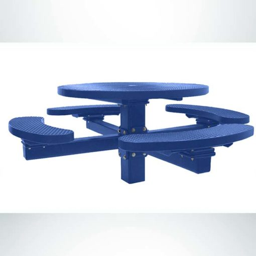 """Model #PPS955108O22C. Champion 4 seat round picnic table. Blue, 48"""" diameter, expanded metal, single pedestal, direct bury."""