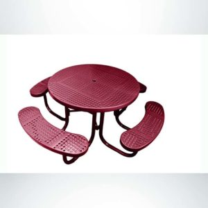 Model #PPS9551P1O00C. Champion 4 Seat Round Picnic Table. 48 Inch Diameter, Burgundy, Perforated, Free Standing.