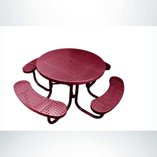 Model #PPS9551P1O00C. Champion 4 seat round picnic table. 48 inch diameter, burgundy, perforated steel, free standing.