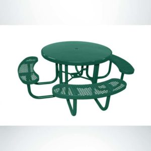 Model #PPS955S01O33. Champion Round 3 Seat Wheelchair Accessible Picnic Table. 48 Inch Diameter, Hunter Green, Expanded Metal, Free Standing.