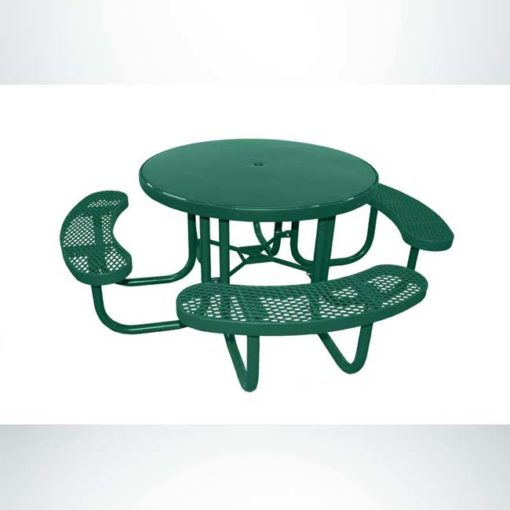 Champion round 3 seat wheelchair accessible picnic table. 48 inch diameter, hunter green, expanded metal, free standing.