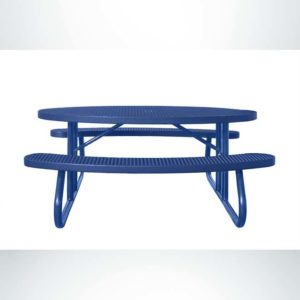 Model #PPS956301O22C. Champion Oval Picnic Table. 6 Foot, Blue, Expanded Metal, Free Standing.