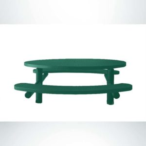 Model #PPS956302O33. Champion Oval Picnic Table. 6 Foot, Hunter Green, Expanded Metal, Multi-Pedestal Direct Bury.