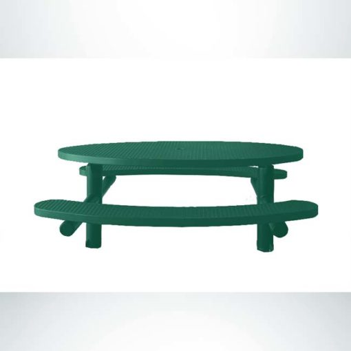 Model #PPS956302O33. Champion oval picnic table. 6 foot, hunter green, expanded metal, multi-pedestal, direct bury.
