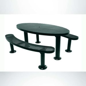 Model #PPS956305O66C. Champion Oval Picnic Table. 6 foot, Evergreen, Expanded Metal, Double Pedestal Surface Mount.