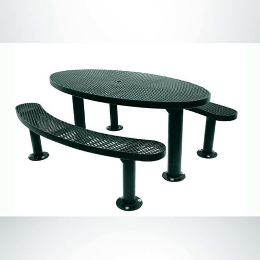 Model #PPS956305O66C. Champion oval picnic table. 6 foot, evergreen, expanded metal, double pedestal, surface mount.