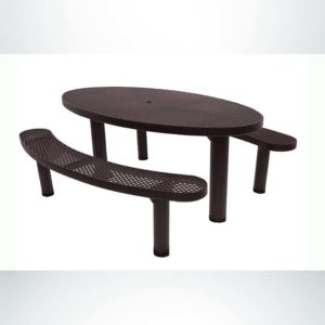 Model #PPS956306O88C. Champion Oval Picnic Table. 6 Foot, Brown, Expanded Metal, Double Pedestal Direct Bury.