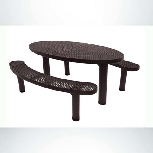 Model #PPS956306O88C. Champion oval picnic table. 6 foot, brown, expanded metal, double pedestal, direct bury.