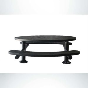 Model #PPS956307O99. Champion Oval Picnic Table. 6 Foot, Black, Expanded Metal, Multi-Pedestal Surface Mount.