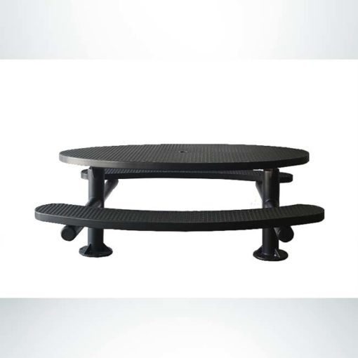 Model #PPS956307O99. Champion oval picnic table. 6 foot, black, expanded metal, multi-pedestal, surface mount.