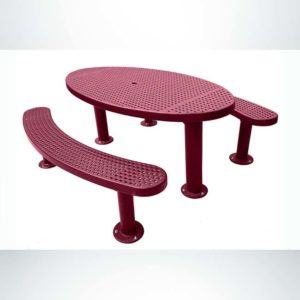 Model #PPS956356O00C. Champion Oval Picnic Table. 3'x6', Burgundy, Perforated, Multi-Pedestal, Surface Mount.
