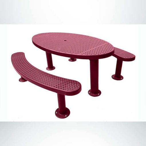 Model #PPS956356O00C. Champion oval picnic table. 3' x 6', burgundy, perforated steel, multi-pedestal, surface mount.