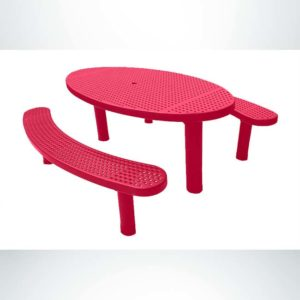 Model #PPS9563P6O11C. Champion Oval Picnic Table. 3'x6', Red, Perforated, Multi-Pedestal, Direct Bury.