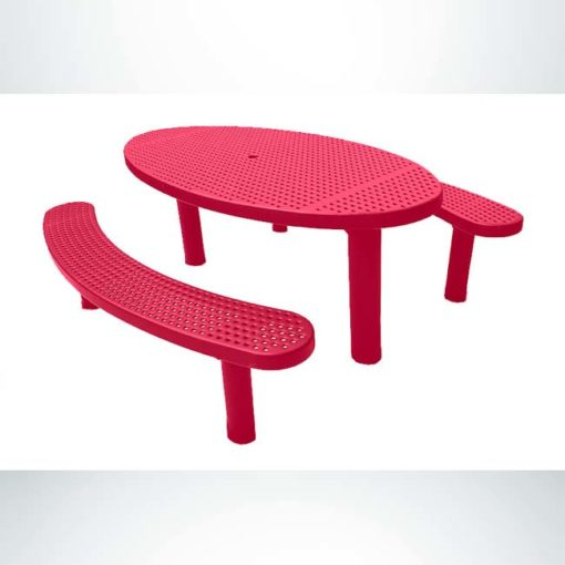 Model #PPS9563P6O11C. Champion oval picnic table. 3' x 6', red, perforated steel, multi pedestal, direct bury.