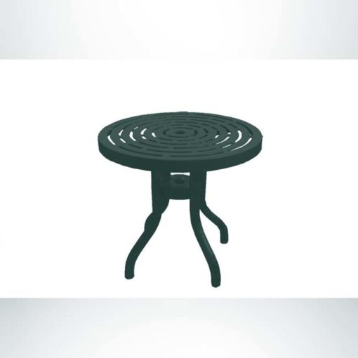 Model #PPS958D1O66C. Outdoor patio table. 30 inch diameter, evergreen, laser cut.