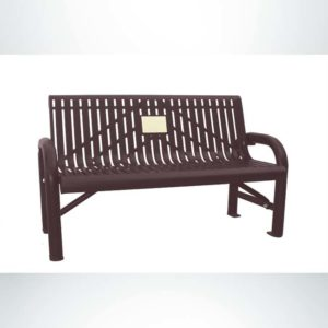 Model #PPS9711M3O88C. Grand Contour memorial bench. 4 foot, brown, laser cut, surface mount.