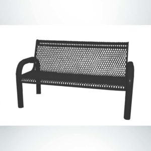 Model #PPS974103O99C. Grand Contour park bench. 4 foot, black, expanded metal, free standing.