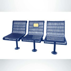 Model #PPS9813M7O22C. Grand Contour 3 Seat Inline Memorial Bench with Backrests. Blue, Welded Rod, Surface Mount.