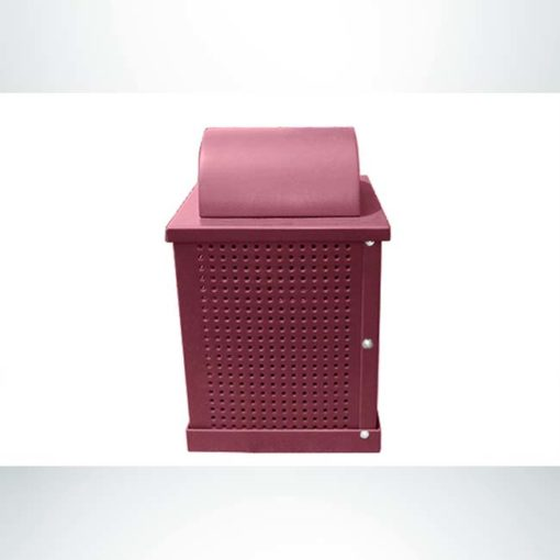 Model #PPS992031O00C. Burgundy, perforated steel, 32 gallon square trash receptacle with arch lid and liner.