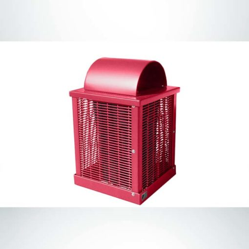 Model #PPS993031O11C. Red, welded rod, 32 gallon square trash receptacle with arch lid and liner.