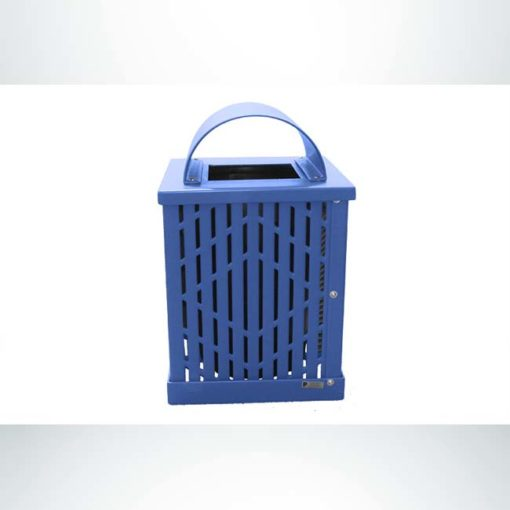 Model #PPS994031O22C. Blue, laser cut, 32 gallon square trash receptacle with arch lid and liner.