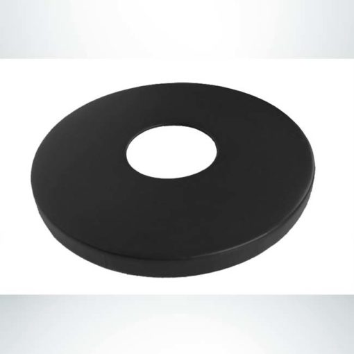 Model #PPS995001O09. Black round flat lid with 8in. hole. Fits 22 and 32 gallon receptacles.