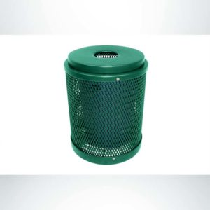 Model #PPS995031O33C. Hunter green, expanded metal, 32 gallon round trash receptacle with flat lit and liner.