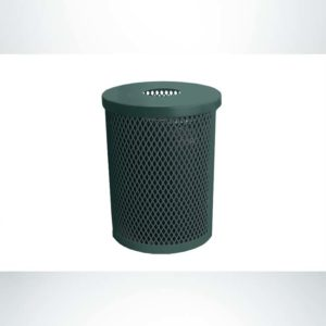 Model #PPS995131O66. Evergreen, expanded metal, 22 gallon round trash receptacle with flat lid and liner.