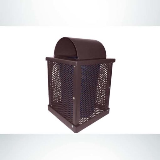 Model #PPS996031O88C. Brown, expanded metal, 55 gallon square trash receptacle with arch lid and liner.