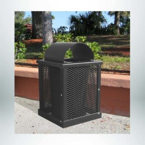 Model #PPS996031O99A. Brown, expanded metal, 32 gallon square trash receptacle with arch lid and liner.