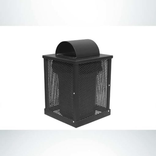 Model #PPS996051O99. Black, perforated steel, 55 gallon trash receptacle with arch lid and liner.