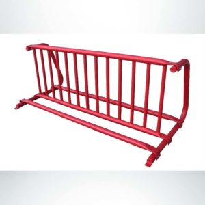 Model #PPS997008011. Red double sided gate style bike rack for up to 12 bikes.