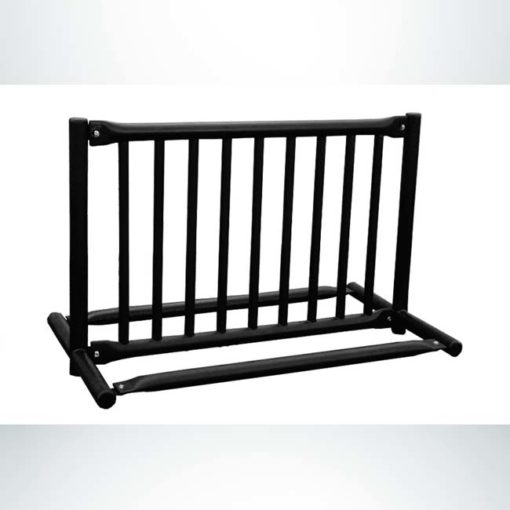 Model #PPS997205099. Black double sided gate style bike rack for up to 8 bikes.