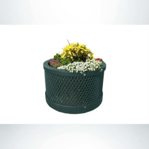 """Model #PPS9PL102O66C. Outdoor round planter. 28"""" diameter, evergreen, expanded metal."""