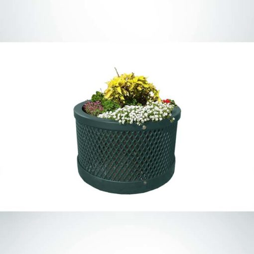 "Model #PPS9PL102O66C. Outdoor round planter. 28"" diameter, evergreen, expanded metal."