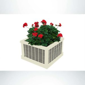"""Model #PPS9PL201O55C. Outdoor square planter. 26"""" x 18"""", ivory, welded rod."""
